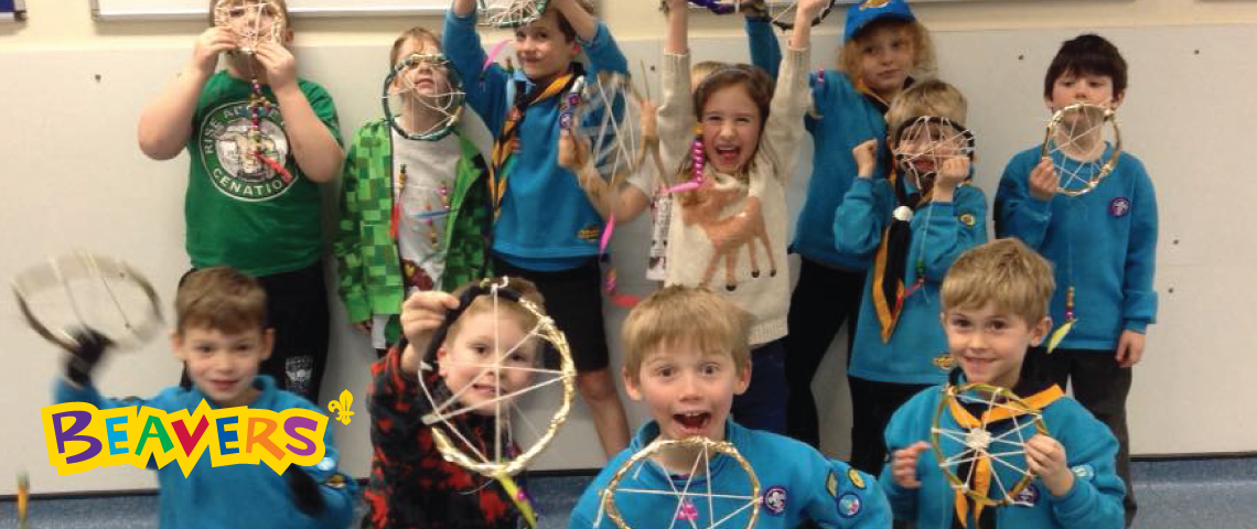 Beavers making dreamcatchers